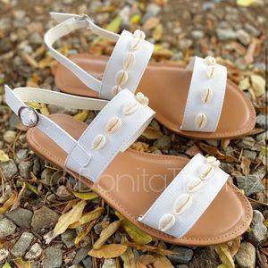 Boho SeaShell Crocodile Embossed White Sandals
